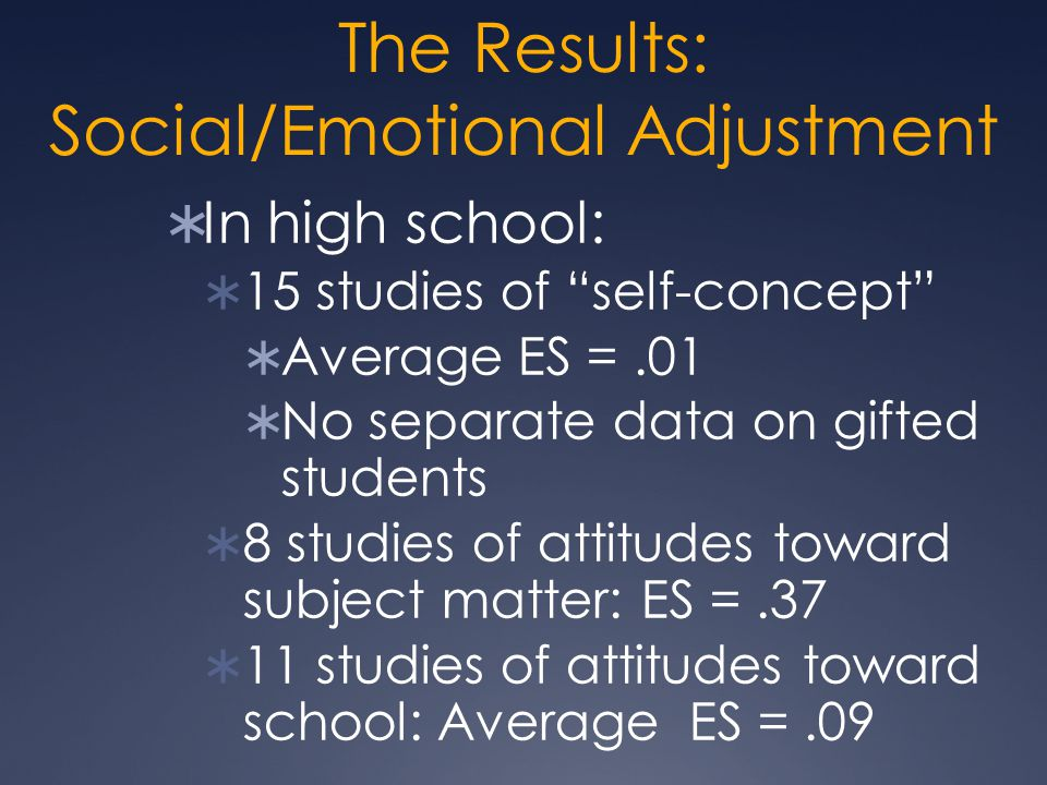 The Results: Social/Emotional Adjustment