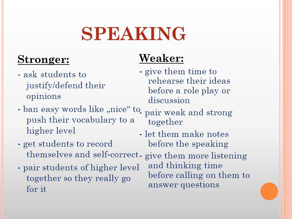SPEAKING Stronger: Weaker: