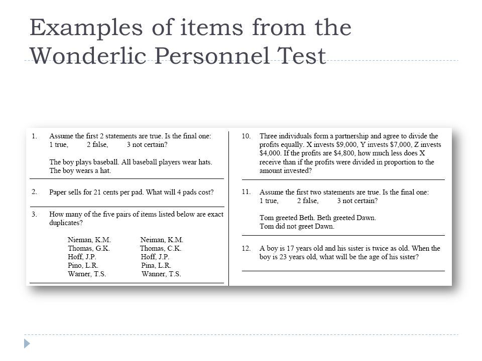 Examples of items from the Wonderlic Personnel Test