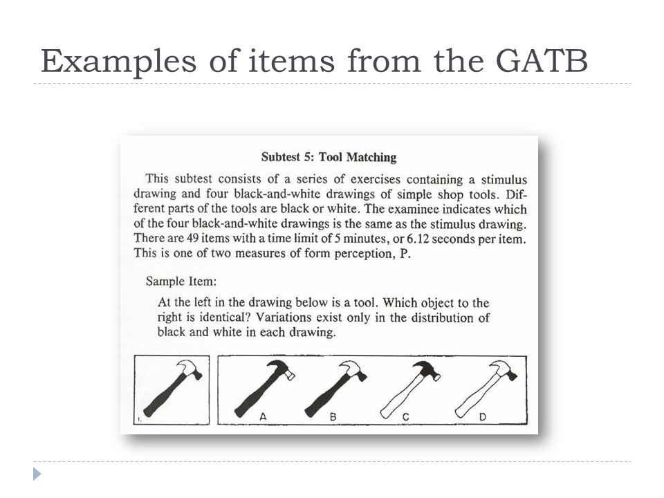 Examples of items from the GATB