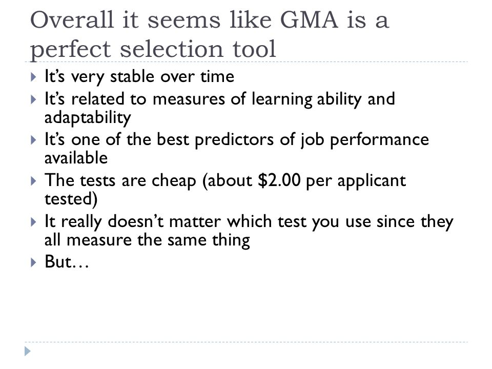 Overall it seems like GMA is a perfect selection tool