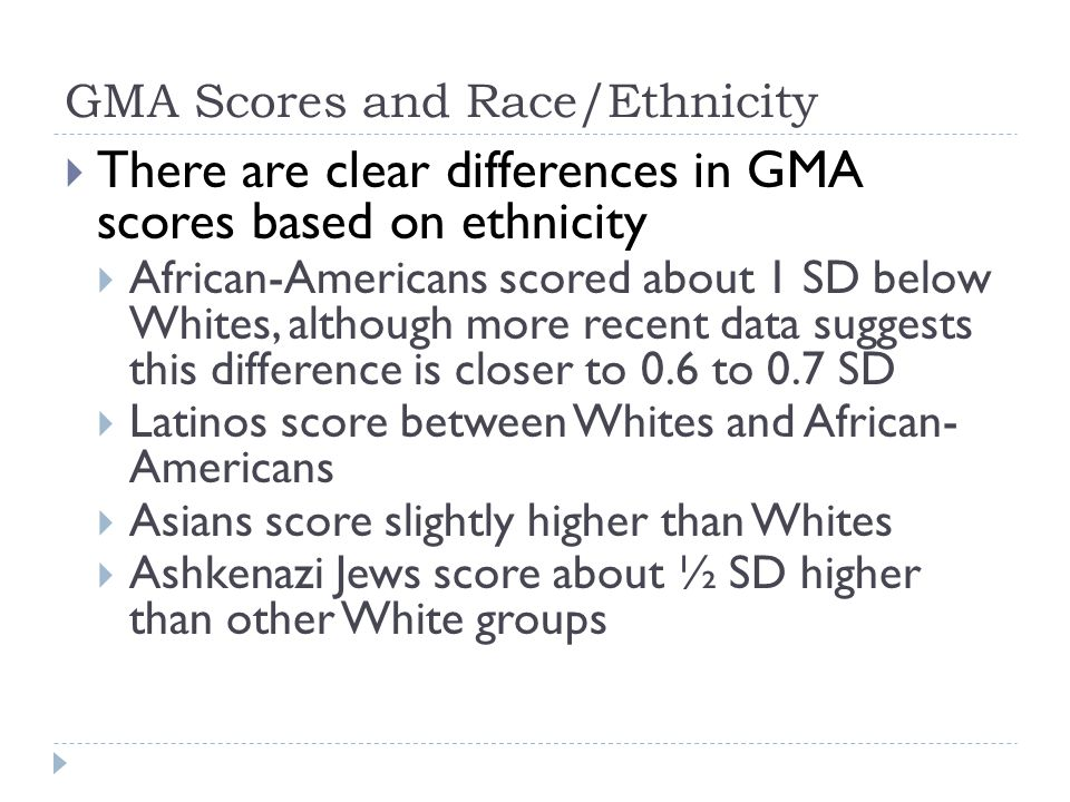 GMA Scores and Race/Ethnicity