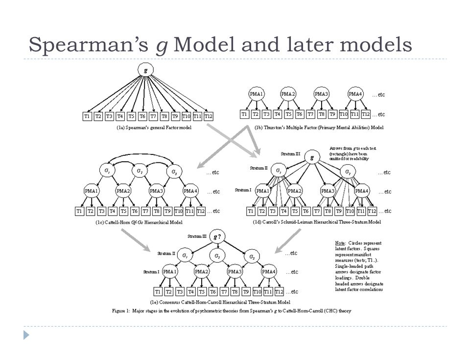 Spearman's g Model and later models