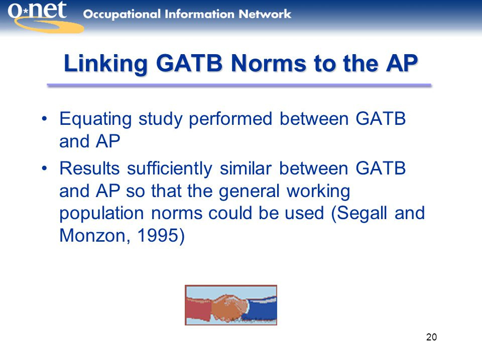 Linking GATB Norms to the AP