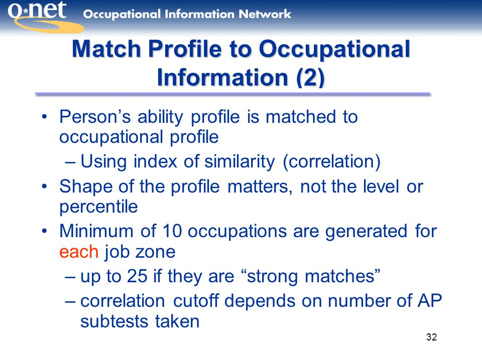Match Profile to Occupational Information (2)