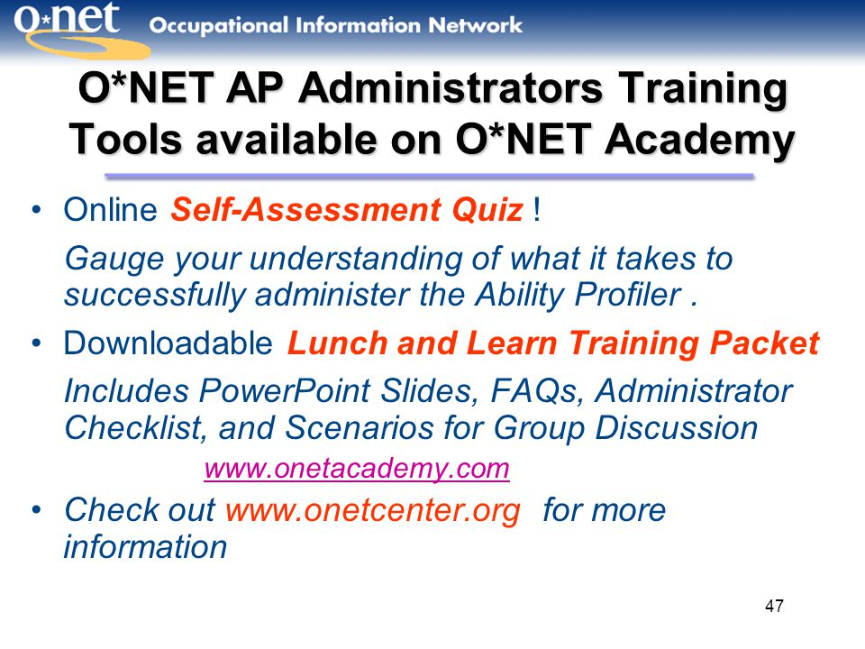 O*NET AP Administrators Training Tools available on O*NET Academy