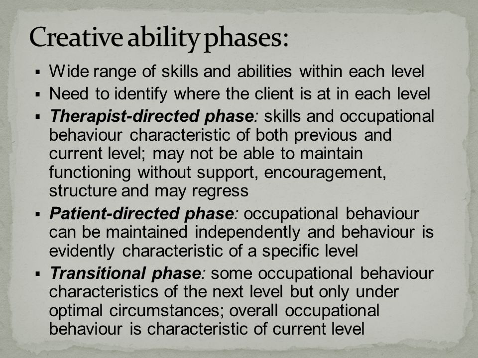Creative ability phases: