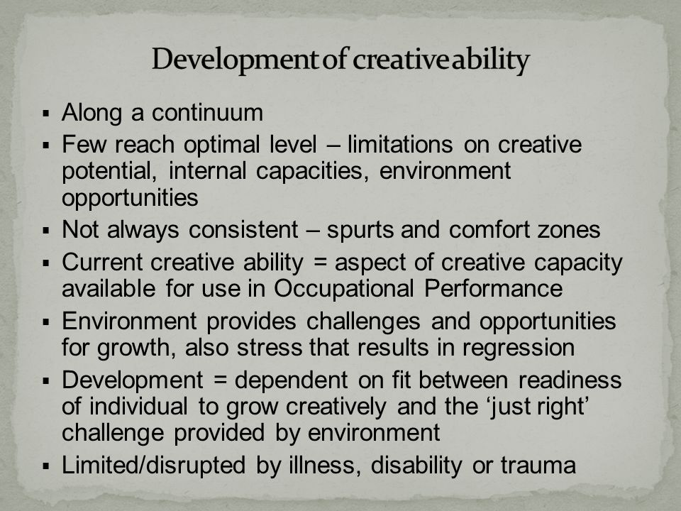 Development of creative ability