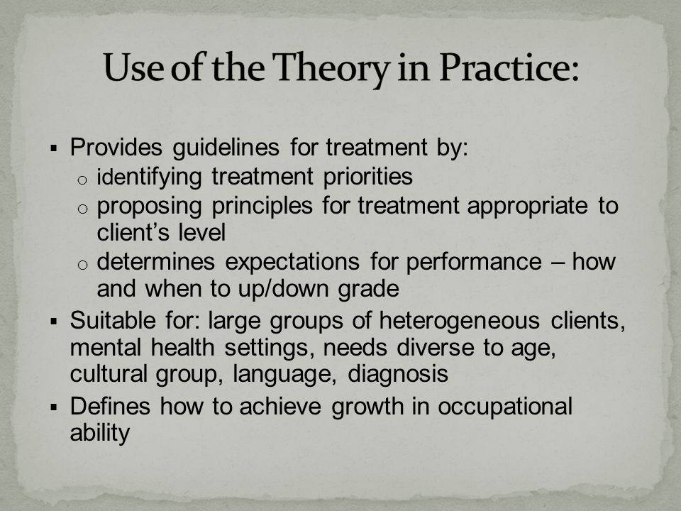 Use of the Theory in Practice: