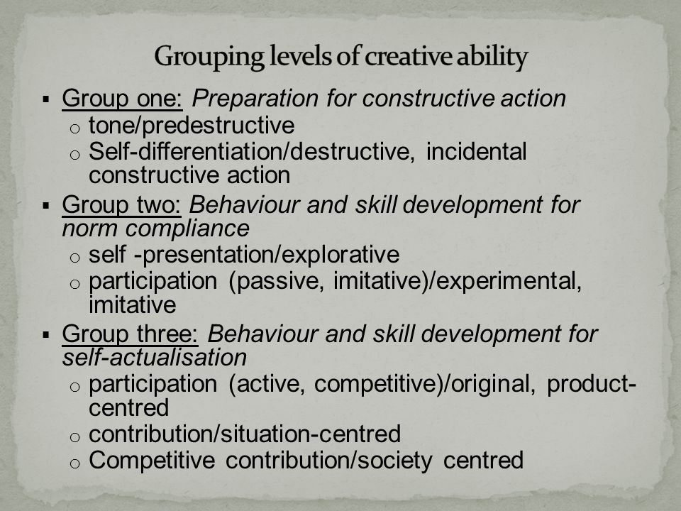 Grouping levels of creative ability