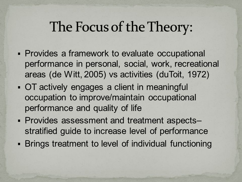 The Focus of the Theory: