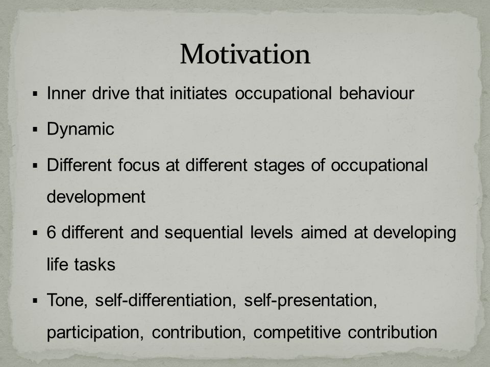 Motivation Inner drive that initiates occupational behaviour Dynamic