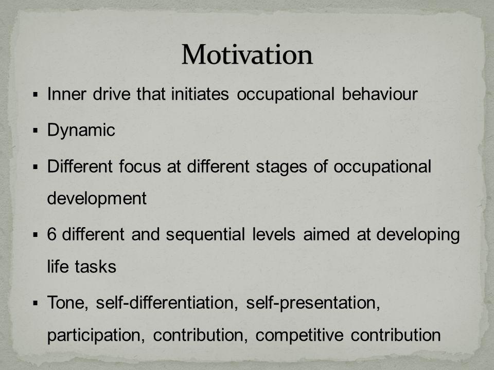 Motivation Inner drive that initiates occupational behaviour Dynamic