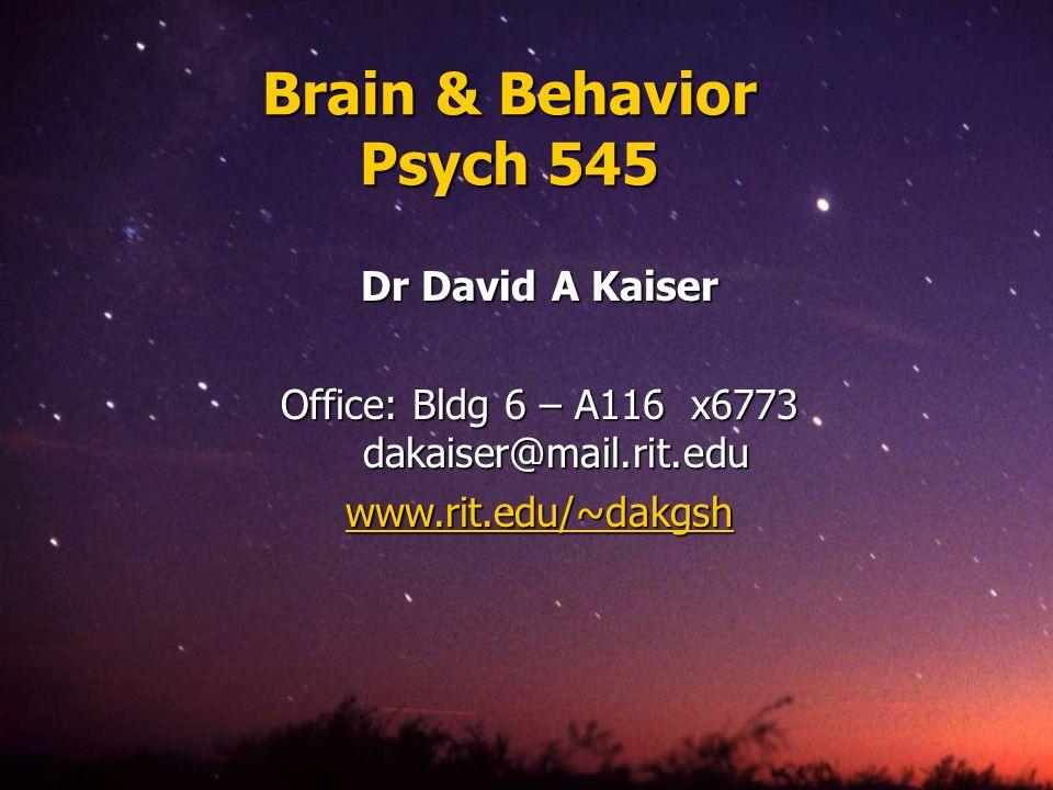 Office: Bldg 6 – A116 x6773 dakaiser@mail.rit.edu