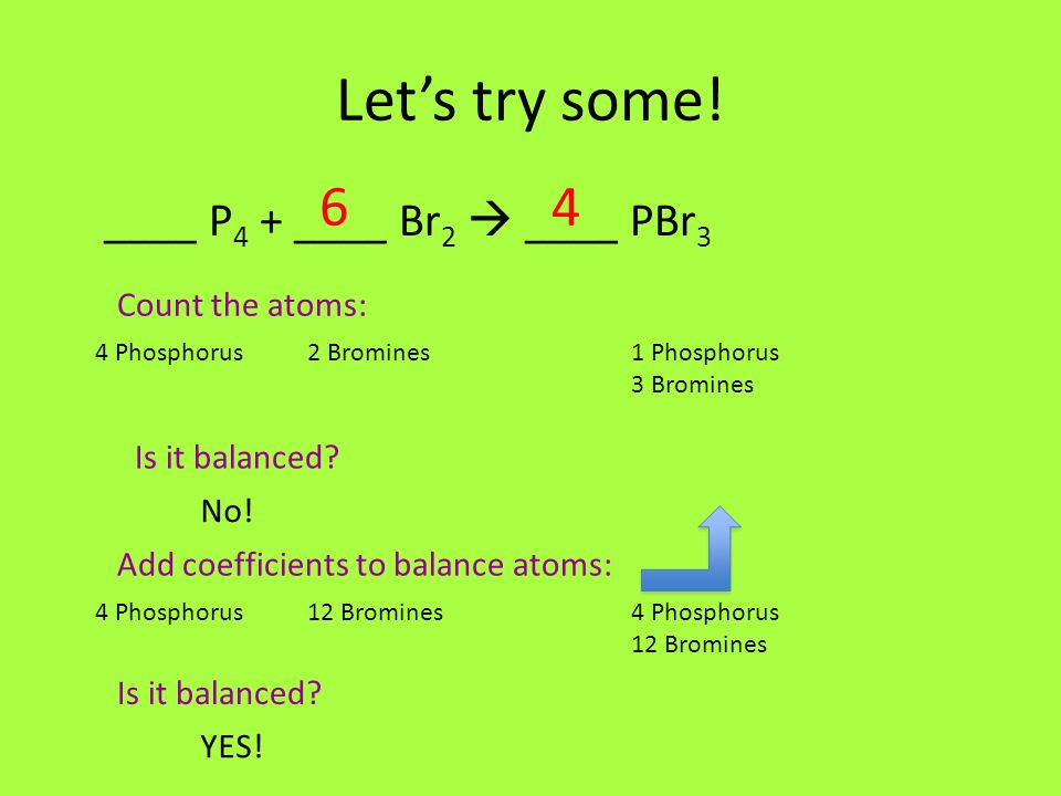 Let's try some! 6 4 ____ P4 + ____ Br2  ____ PBr3 Count the atoms: