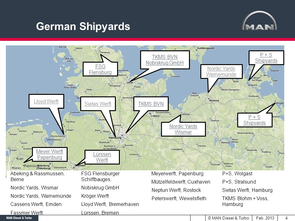 German Shipyards TKMS BVN Nobiskrug GmbH P + S Shipyards FSG Flensburg