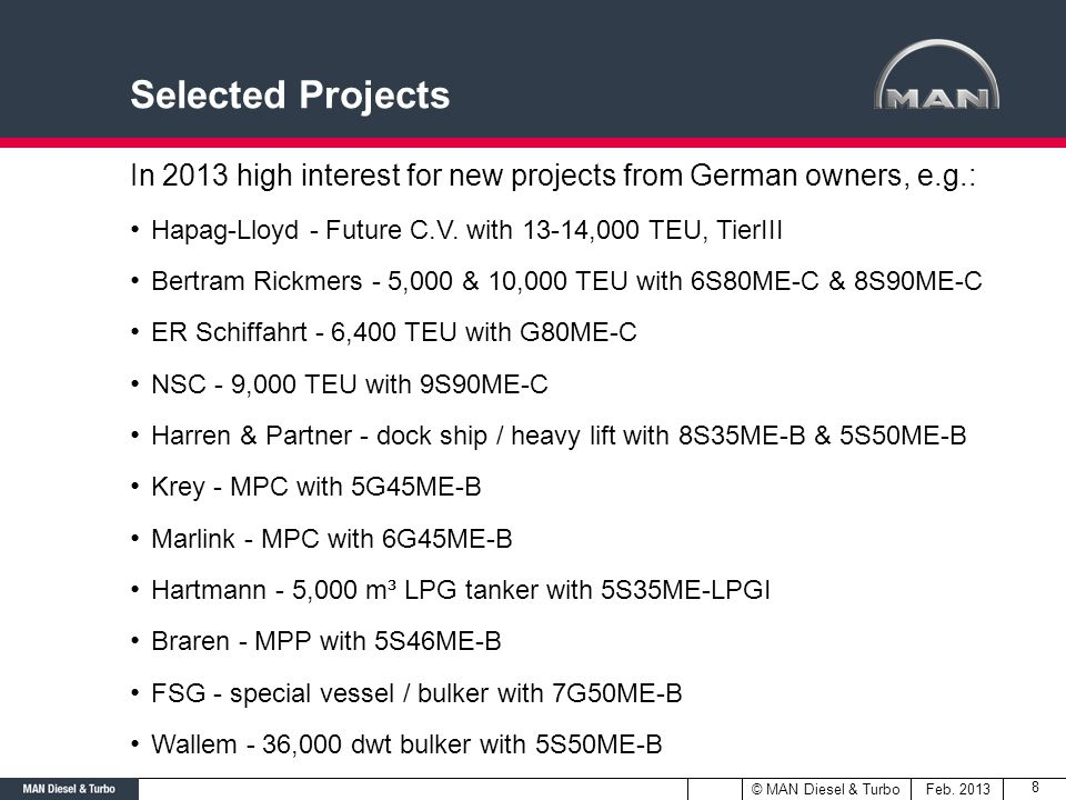 Selected Projects In 2013 high interest for new projects from German owners, e.g.: Hapag-Lloyd - Future C.V. with 13-14,000 TEU, TierIII.
