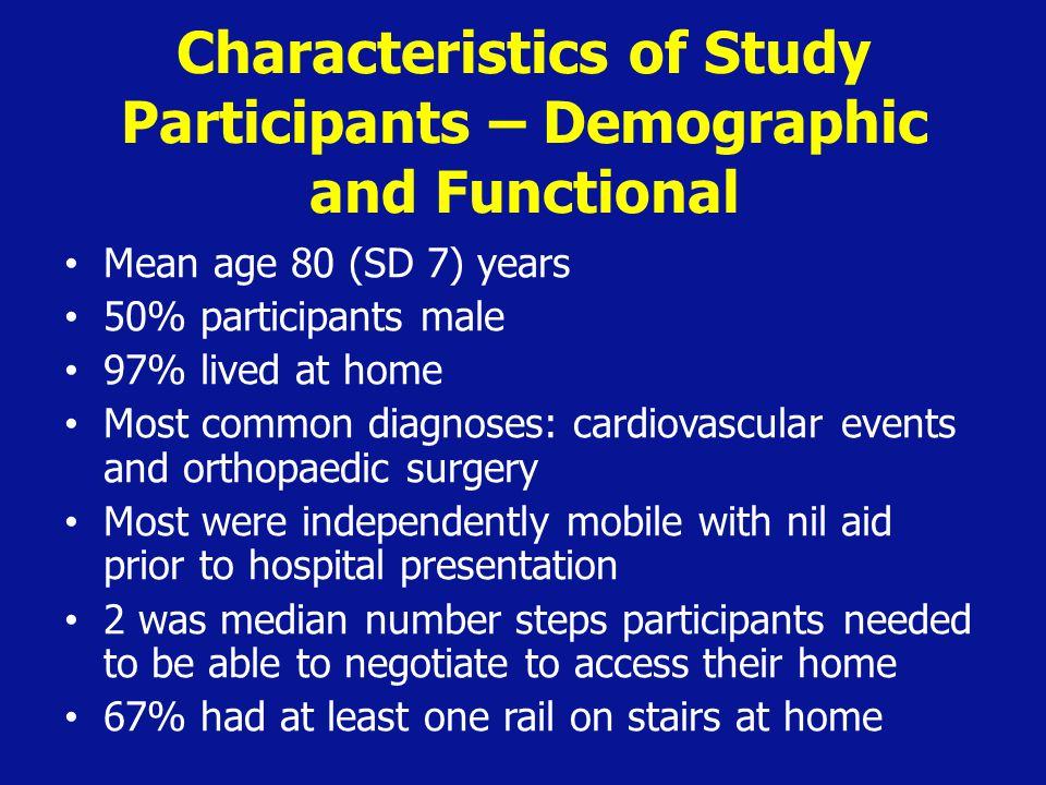 Characteristics of Study Participants – Demographic and Functional