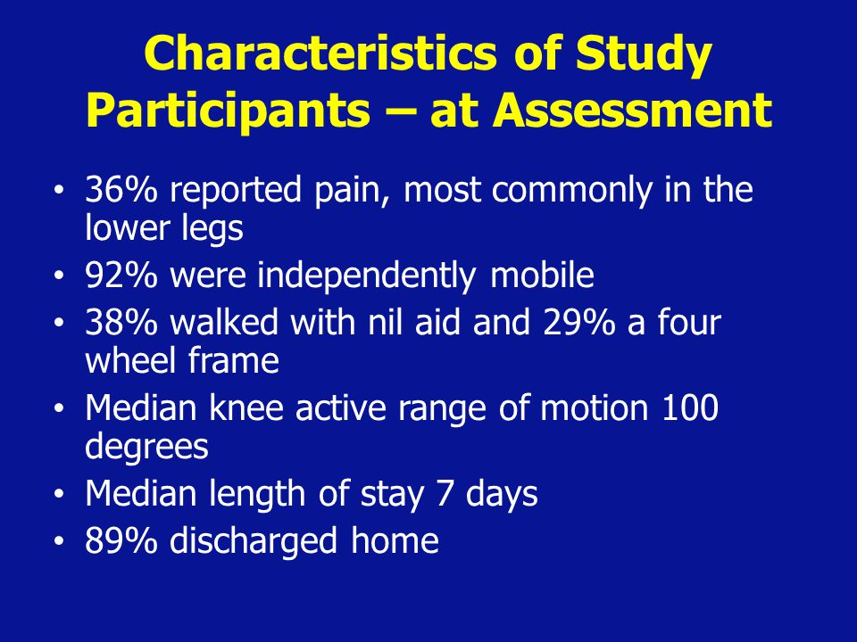 Characteristics of Study Participants – at Assessment