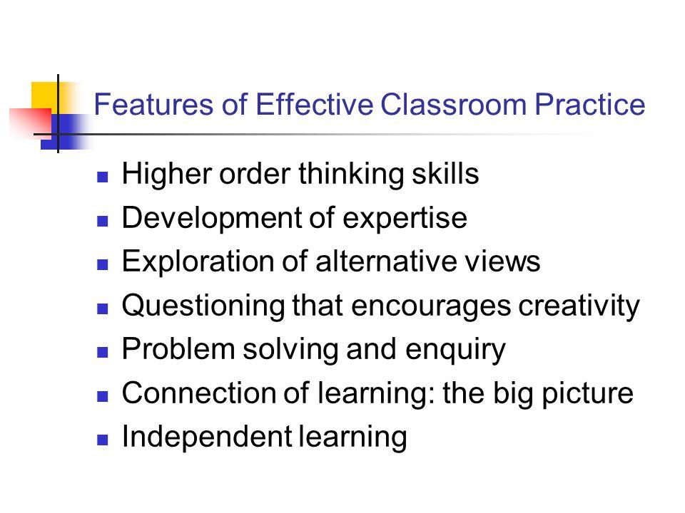 Features of Effective Classroom Practice
