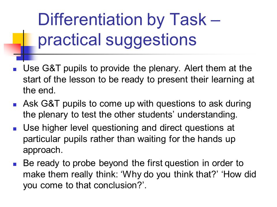 Differentiation by Task – practical suggestions