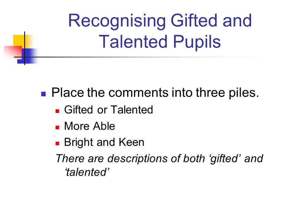 Recognising Gifted and Talented Pupils