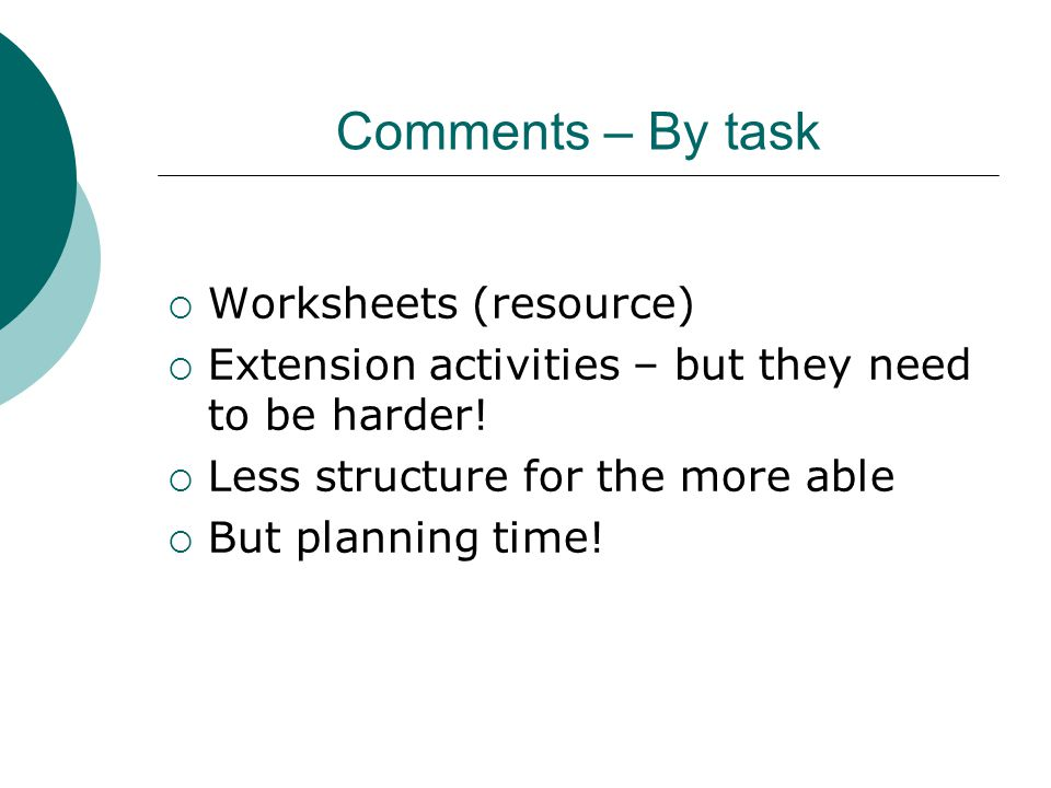 Comments – By task Worksheets (resource)