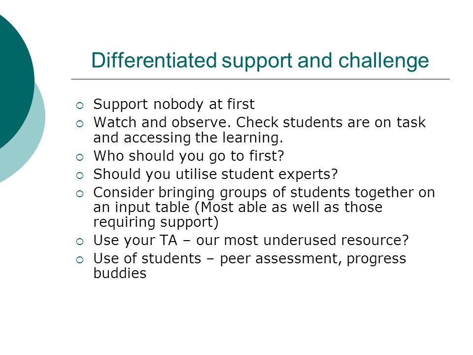 Differentiated support and challenge