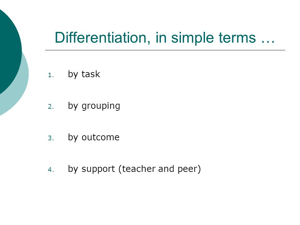 Differentiation, in simple terms …