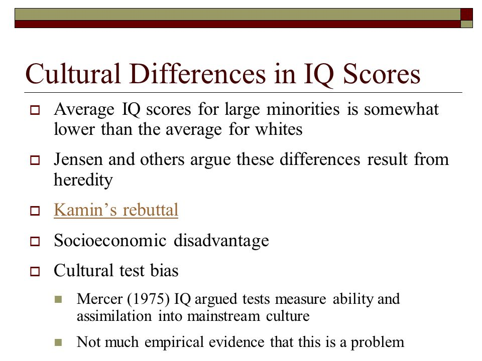 Cultural Differences in IQ Scores
