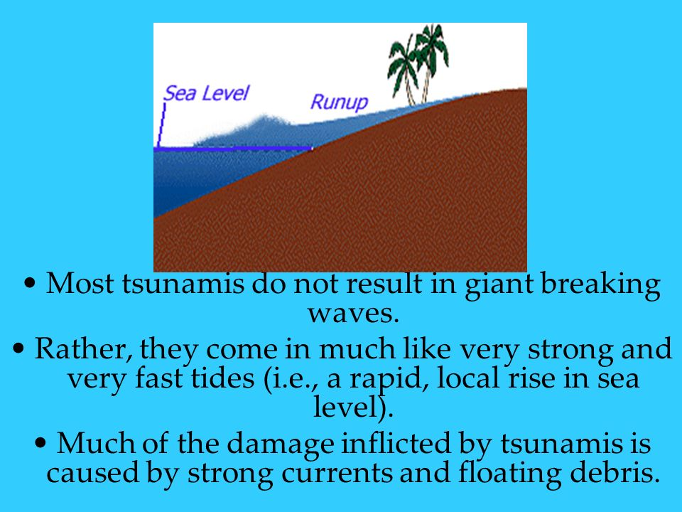 Most tsunamis do not result in giant breaking waves.