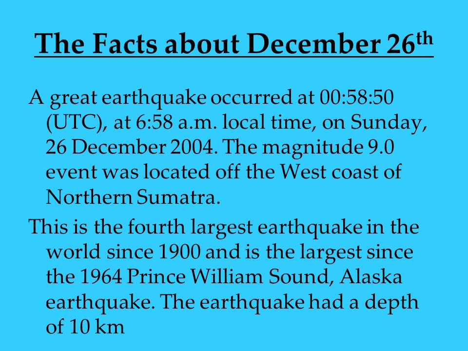The Facts about December 26th