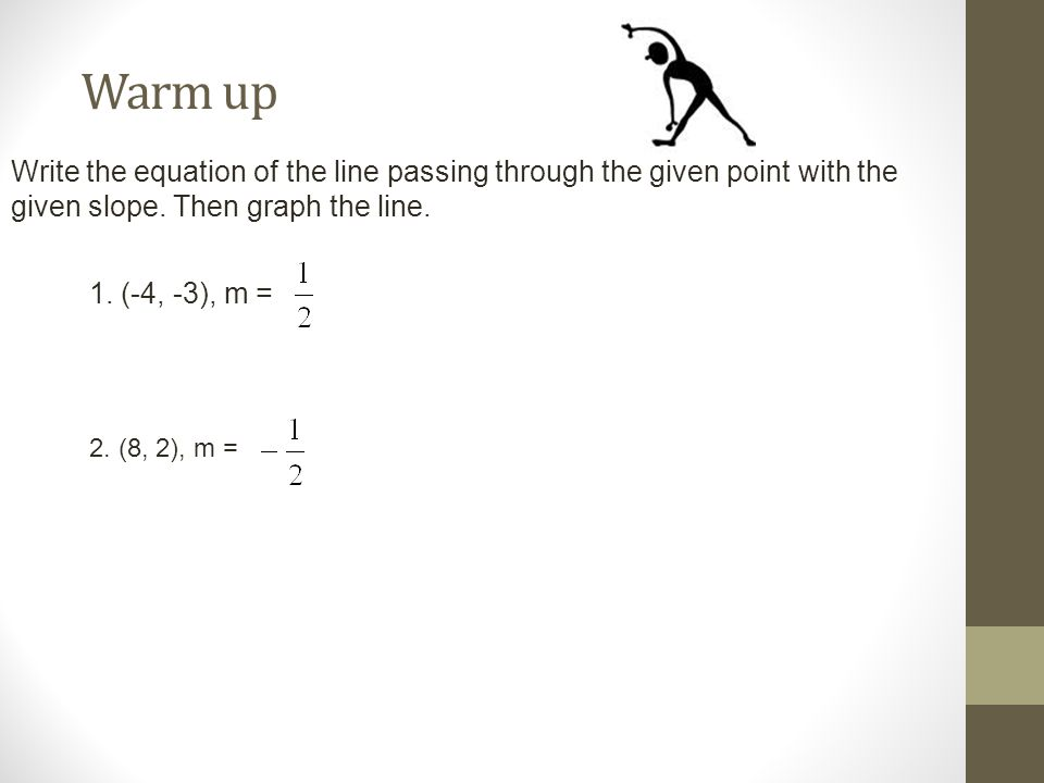 Warm up Write the equation of the line passing through the given point with the given slope. Then graph the line.