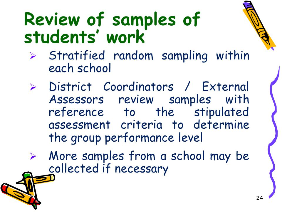 Review of samples of students' work