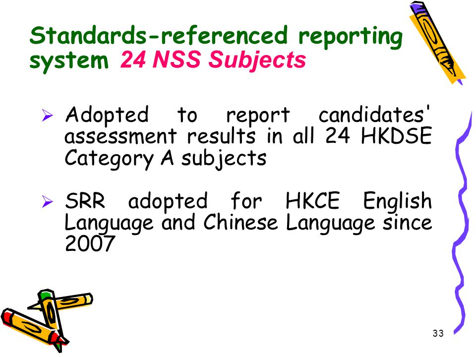 Standards-referenced reporting system 24 NSS Subjects
