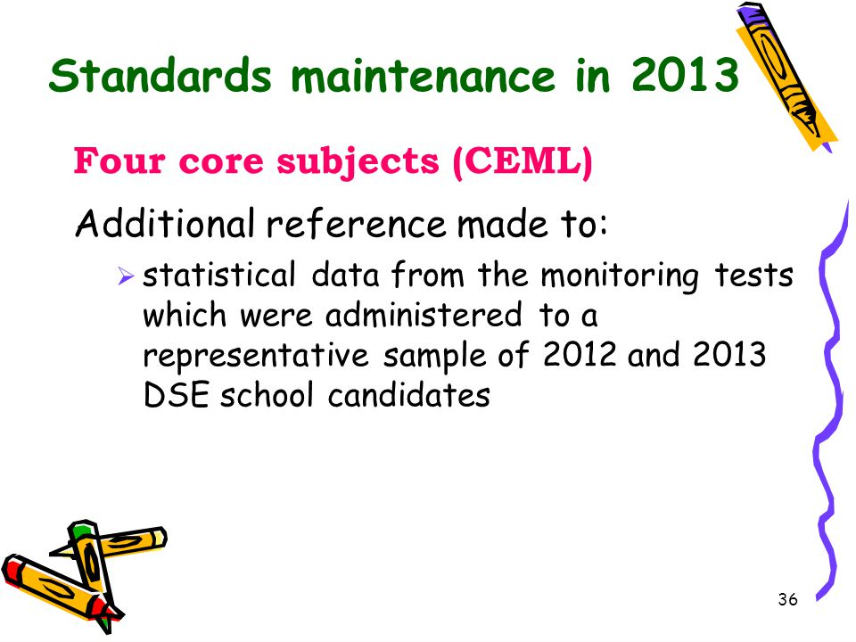 Standards maintenance in 2013