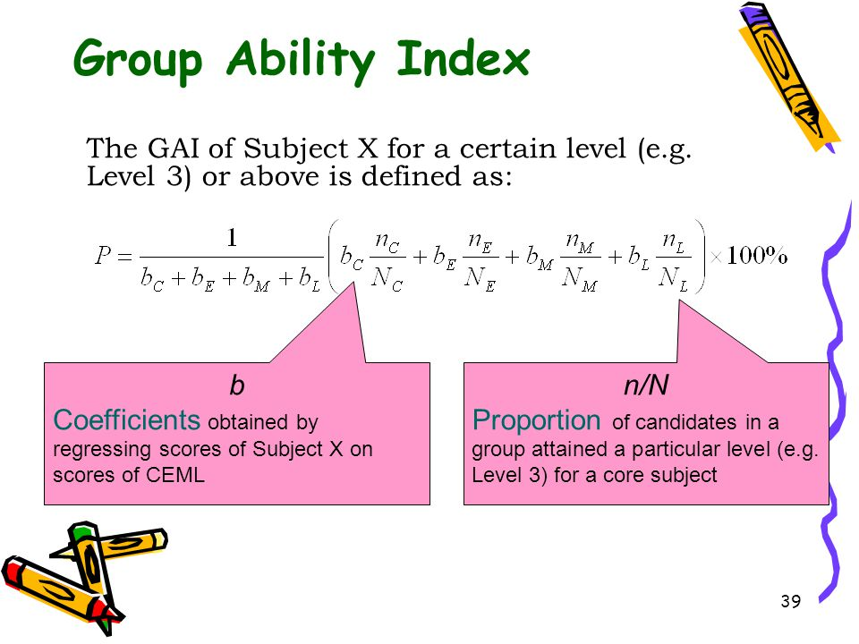 Group Ability Index The GAI of Subject X for a certain level (e.g. Level 3) or above is defined as: