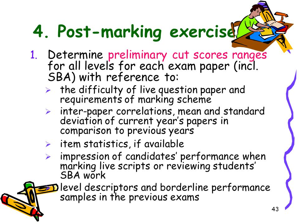 4. Post-marking exercise