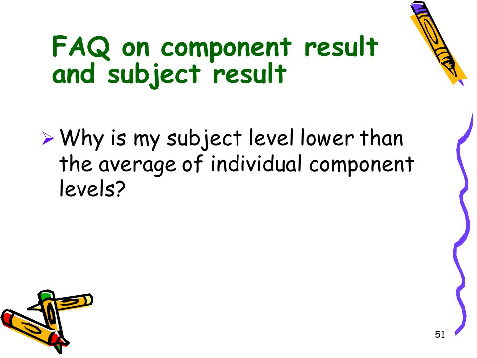 FAQ on component result and subject result