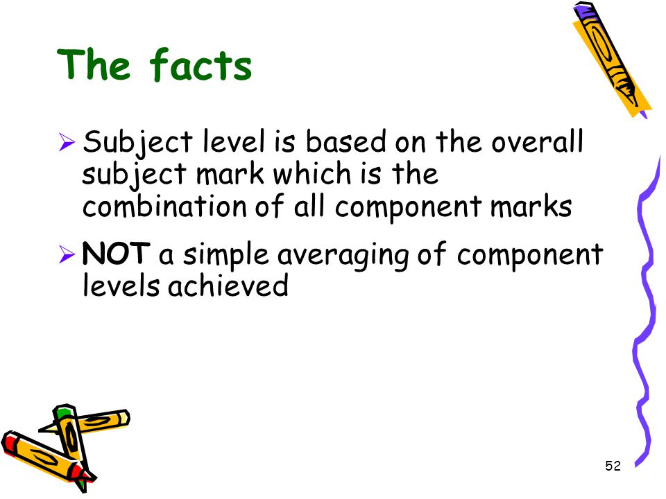 The facts Subject level is based on the overall subject mark which is the combination of all component marks.