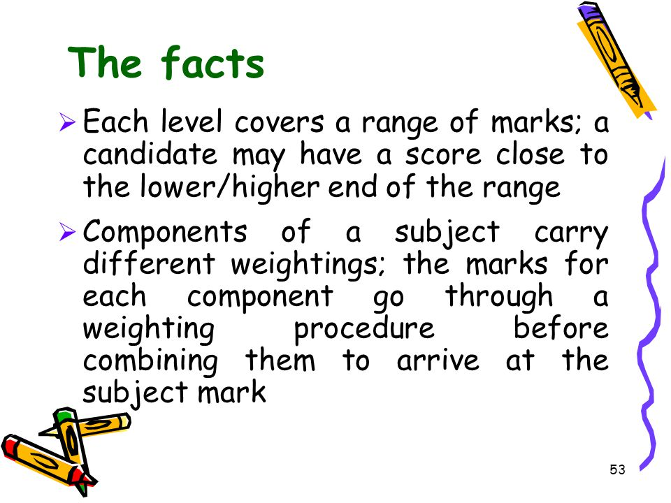 The facts Each level covers a range of marks; a candidate may have a score close to the lower/higher end of the range.