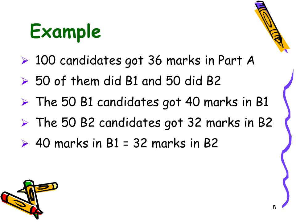 Example 100 candidates got 36 marks in Part A