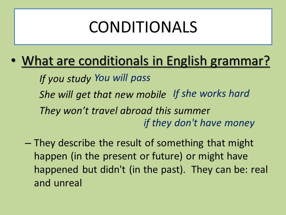 CONDITIONALS What are conditionals in English grammar If you study