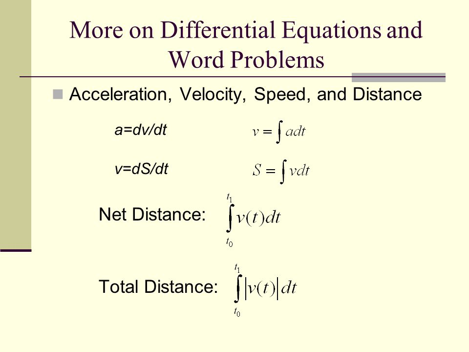 More on Differential Equations and Word Problems