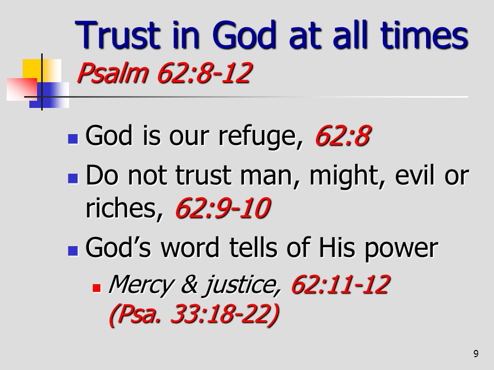 Trust in God at all times Psalm 62:8-12