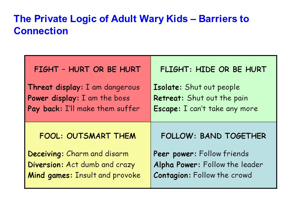 The Private Logic of Adult Wary Kids – Barriers to Connection