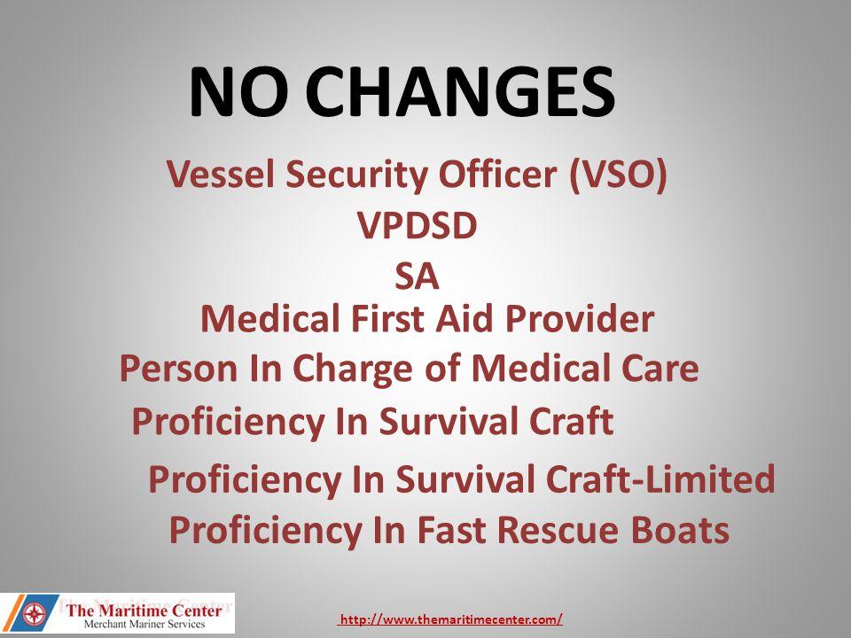 NO CHANGES Vessel Security Officer (VSO) VPDSD SA