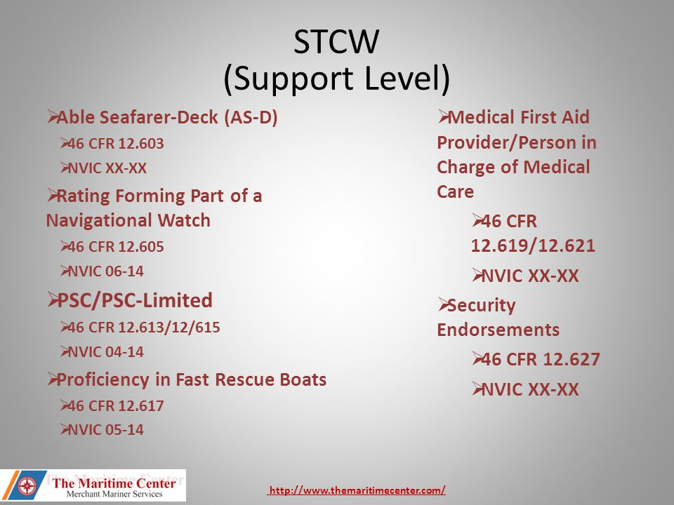 STCW (Support Level) PSC/PSC-Limited Able Seafarer-Deck (AS-D)