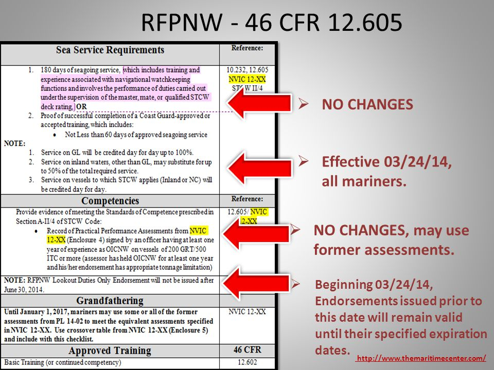 RFPNW - 46 CFR 12.605 NO CHANGES Effective 03/24/14, all mariners.