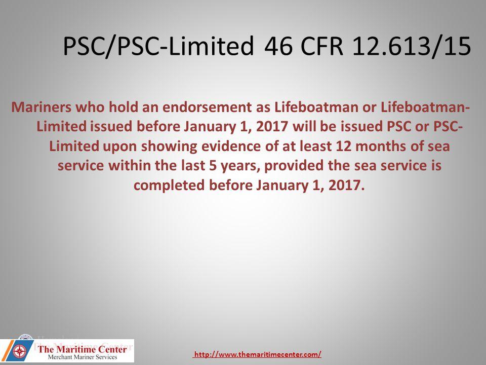 PSC/PSC-Limited 46 CFR 12.613/15